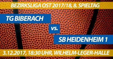 Spielvorschau: TG Biberach - SB Heidenheim 1, 8. Spieltag, Bezirksliga Ost 2017/18