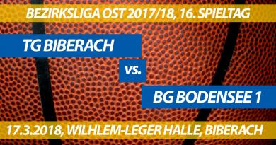 Spielvorschau: TG Biberach - BG Bodensee 1, 16. Spieltag, Bezirksliga Ost 2017/18